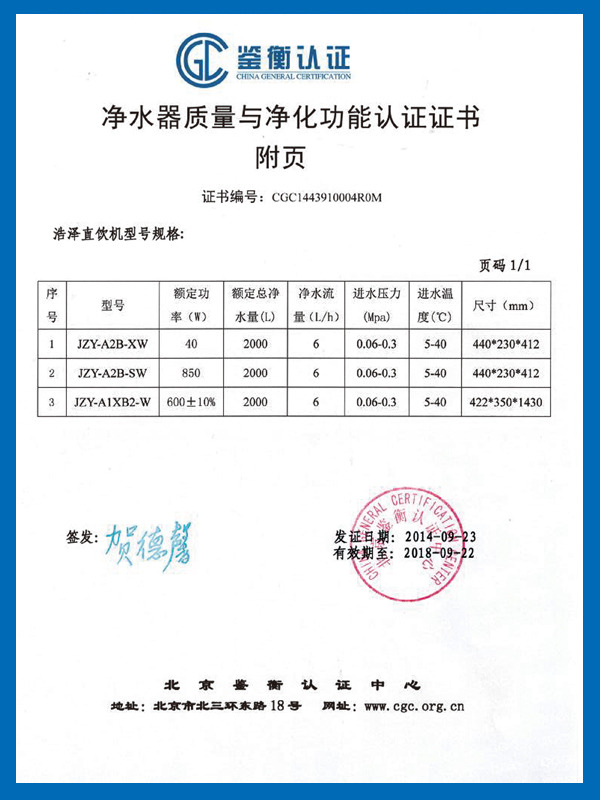 净水器质量与净化功能认证证书附页